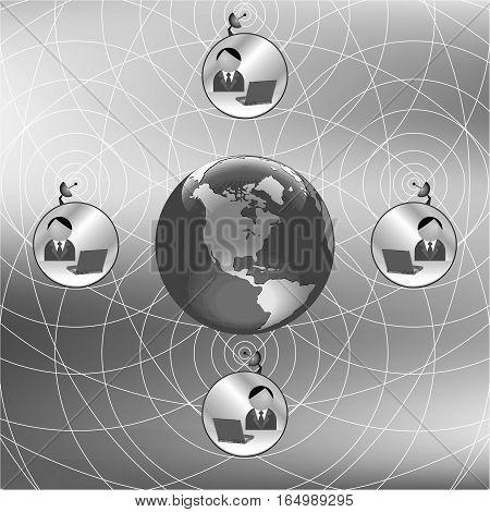 Monochrome world representing global business telecommunications via the internet