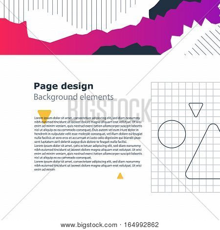 Creative modern background, unusual minimalistic template and attractive poster design, vector geometric shapes, abstract pattern with gradient