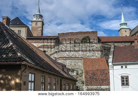 Oslo - the capital of Norway. Clear sunny summer day. Castle and Akershus Fortress.