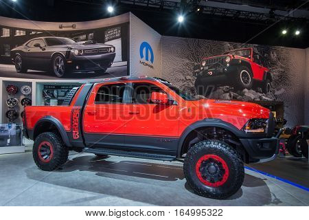 DETROIT MI/USA - JANUARY 9 2017: A 2017 Dodge Ram Mopar Macho Power Wagon truck car at the North American International Auto Show (NAIAS).