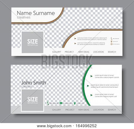 set of banners for the standard size for a social network. Template with space for a photo contact information and buttons. Vector illustration