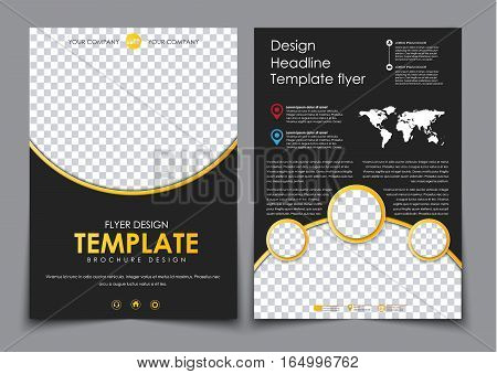 Design 2 Pages Of A4 Black With Yellow Elements.