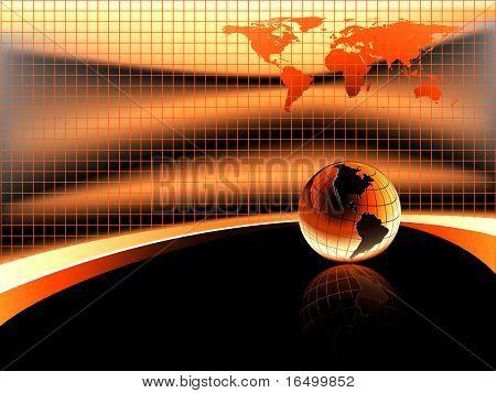 warm orange background with earth globe