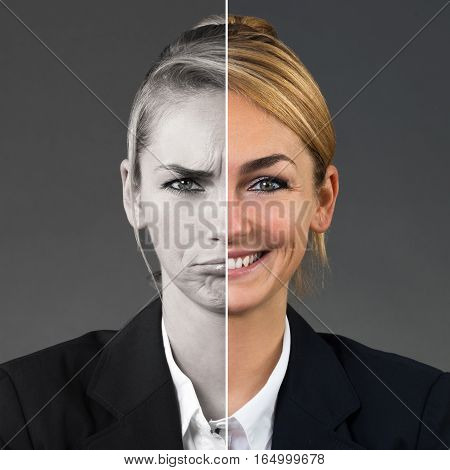 Two Side Face Of Young Woman Showing Different Emotions On Grey Background