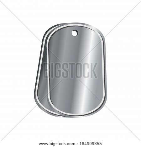 Dog Tags Military Isolated. Death Medallion. Soldiers Badge Isolated. Iron War Medal On White Backgr