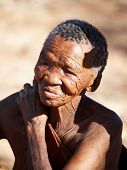 NAMIBIA- MAY 6: Bushman elderly woman May 6, 2007 in Namibia, Kalahari Desert. Bushmen are an indige