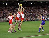 MELBOURNE - SEPTEMBER 12: Swans and bulldogs players in action in the AFL second semi final - Wester