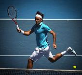 MELBOURNE, AUSTRALIA - JANUARY 27: Roger Federer in action at his win over Nikolay Davydenko during