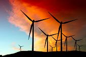 stock photo of wind-farm  - Wind farm silhouette - JPG