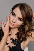 Close Up. Individuality. Thoughtful Elegant Lady In Black Prom Evening Dress. Studio Retouched Photo poster
