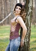 foto of birchwood  - beautiful girl in a birchwood - JPG