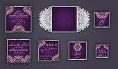 Vintage Wedding Invitation Design Set Include Invitation Card, Save The Date, Rsvp Card, Thank You C poster