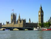 foto of big-ben  - big ben from across the river thames  - JPG