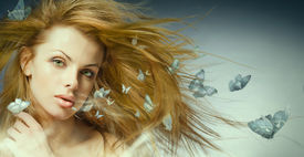 image of beautiful young woman  - Portrait beautiful young woman with butterfly - JPG