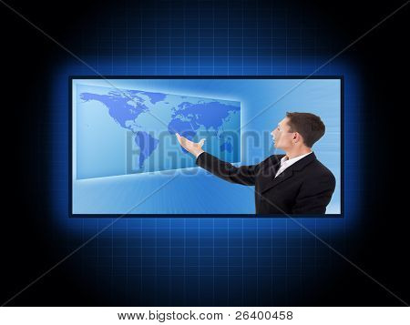 Future Business Solutions Businessman With World Map