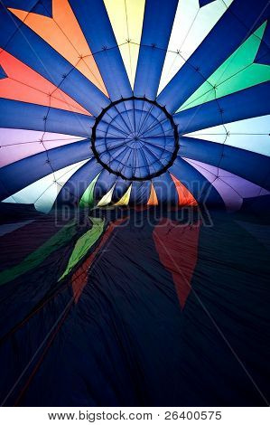 hot air balloon inflating - interior shot with balloon still laying on its side