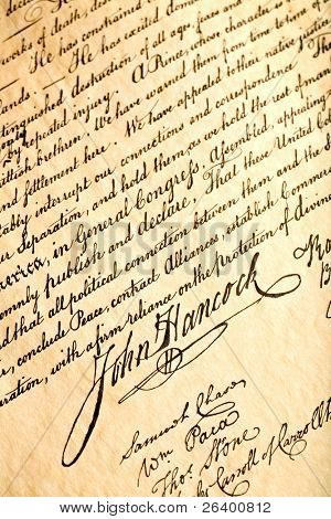 John Hancock signature on United States Declaration of Independence, closeup