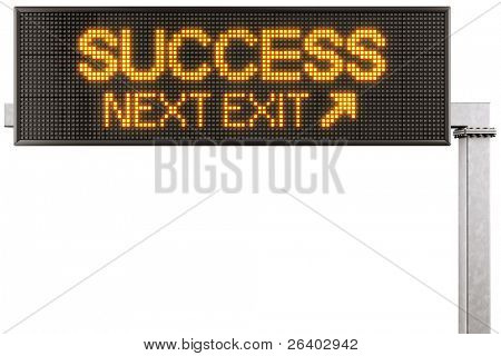 "3d rendering of a modern digital highway sign with ""SUCCESS"" written on it"