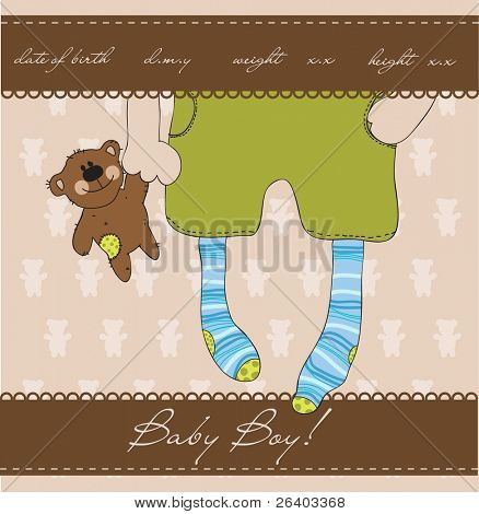 Baby Boy arrival announcement card with plush bear