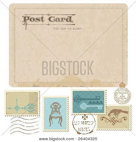 Alte Ansichtskarte und Briefmarken für Hochzeit Design, Einladung, herzlichen Glückwunsch, Sammelalbum