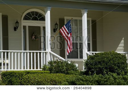 Relaxing Home with American flag on porch 03