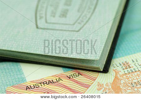 australian visa and immigration stamp
