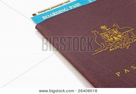 australian passport and boarding pass