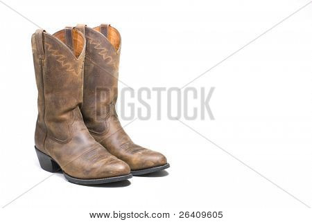 Western cowboy brown boots on white background series 10