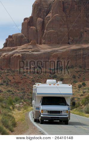 Vacation RV travel through Arches National Park Utah
