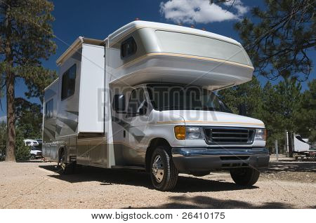 Detailed image of class C motor home recreational vehicle