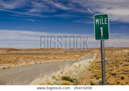 Mile 1 one marker on desert highway horizontal