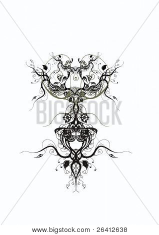 hand draw-ed floral design vector illustration scalable change the color & size as you wish