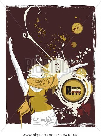 vector illustration,woman dancing with the hands in the air,grunge & floral elements on the blank emblem,eroded retro background ,just ad your own text