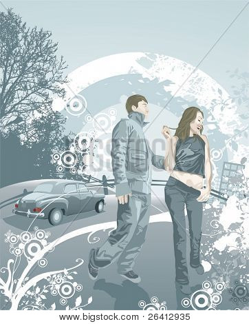 Happy young couple in love, grunge & floral elements,vector illustration