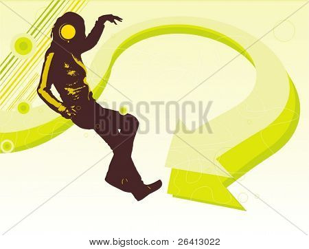 dancing woman silhouette with headphones on abstact tech background in fresh colors