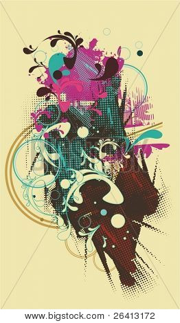 abstract vector artwork,floral ,grunge,halftone pattern, designed  for party flyers & t shirts, just add your text