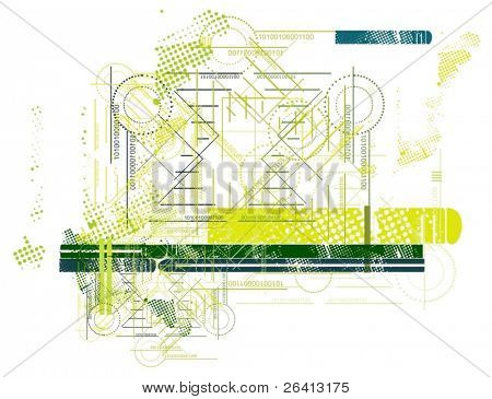 abstract grunge- tech vector background