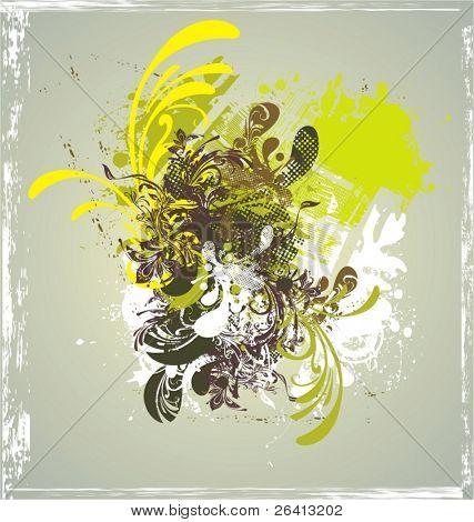 fondo floral Grunge, ilustración vectorial
