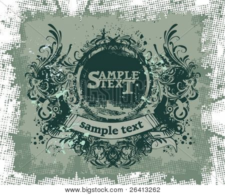 vintage design,floral ornaments ,grunge background,vector