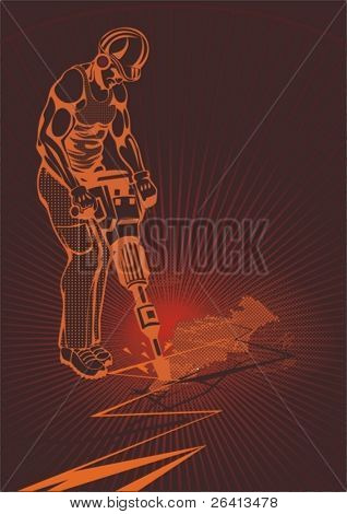 vector construction worker with hammer drill