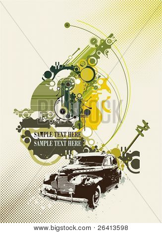 abstract design with vintage car on grunge & tech background