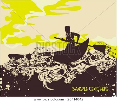 Sailing  on a summer day,vector illustration