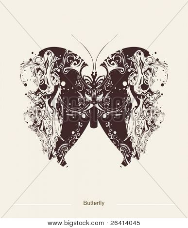 abstract butterfly tattoo, illustration