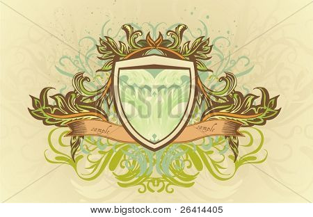 vector illustration of shield and banner with decorative elements