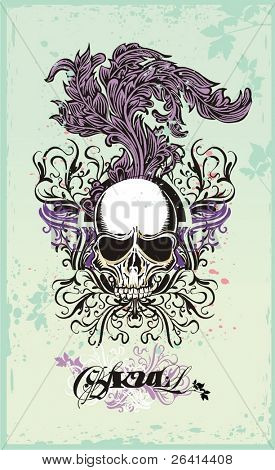 vector skull with floral ornaments on grunge background