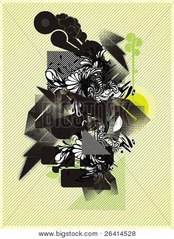 composición de formas de vector abstracto moderno con elementos orgánicos