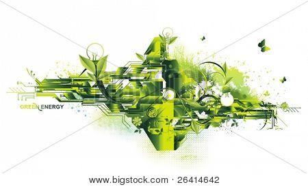 concepto de energía medio ambiente & verde, vector illustration
