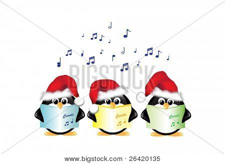 Winter cartoon penguins wearing Santa hats and singing Christmas Carols. Isolated on white. Also available in vector format.
