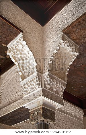 Detail of the columns and arches of the Nasrid Palace, Alhambra, Granada, Spain
