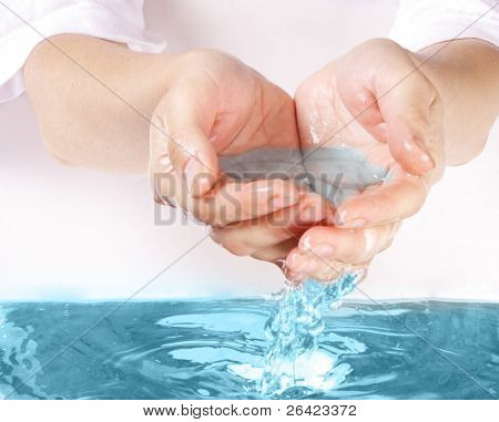 water in hand